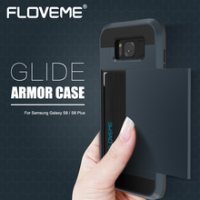 FLOVEME Armor Cases For Samsung Galaxy S8 S8 Plus Back Cover Slide Hidden Card Holder Protective Cases For Samsung S8 S8 Plus(China)