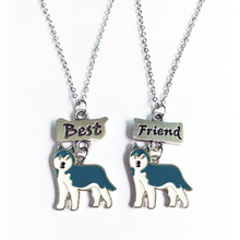 2PCS/SET Dog lovers blue husky Pendant jewelry women Necklaces dog charms Best Friends Necklace for friendship Christmas gift