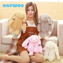 Cute Cartoon Pink Rabbit Plush Doll Soft Animals Car Living Room Napkin Carton Toys Stuffed Sitting Hang Rabbit Paper Napkin