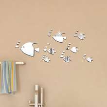 Cute Fish Acrylic Mirror Effect Wall Sticker 8pc/set DIY Small Mirror Surface Wall Stickers New Year Home Decoration Christmas(China)