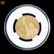 USA Lady Liberty Gold Medal Honor God Trust Challenge Commemorative Coin w/ Capsule Display