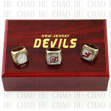 Team Logo wooden Case 3PCS Sets 1995 2000 2003 New Jersey Devils NHL Hockey Stanely Cup Championship Ring 10-13 Size solid back