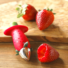 Kitchen creative Strawberries pedicle removal Cut the fruit gifts red strawberry promotional slicer seeder(China)