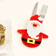 4pcs Xmas Decor Santa Kitchen Tableware Holder Pocket knife fork Dinner Cutlery Bag Party Christmas table decoration cutlery set