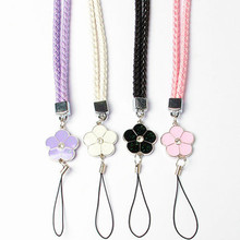 Crystal Lanyard Petals Colorful Mobile Phone Straps Lanyard Phone Neck Hanging Rope Chain Straps Keychain Charm Cords P0.16