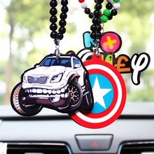 Double Sides Print Racing Sport Car Sexy Girl Badge Pendant Car Styling JDM Rearview Mirror Hip Hop Hellaflush Charm for VW(China)