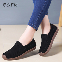 EOFK 봄 가 Women 모카신 Women's 츠 Genuine leather Shoes Woman Lady 로퍼 Slip 에 Suede Shoes mocasines mujer(China)