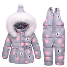 New Infant Baby Winter Coat Snowsuit Duck Down Toddler Girls Winter Outfits Snow Wear Jumpsuit Bowknot Polka Dot Hoodies Jacket(China)