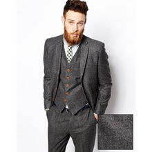 Custom tweed costume homme men Wool Herringbone British style custom made Mens suit slim fit Blazer wedding suits for men(China)