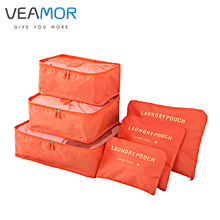 VEAMOR Travel Clothes Finishing Luggage Storage Bags for women Essential Pouch Underwear Clothing Storage Bags 6Pcs/set WB003(China)