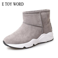 E TOY WORD Winter Boots for Woman 2017 New Ankle Boots Female Round toe Fashion Shoes flat Non-slip Winter Warm Snow Boots Woman(China)