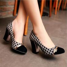 women pumps  black NEYLON high heels behalf of a diamond chain round shallow mouth shoe waterproof  OL new shoes top quality