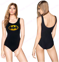 Gold Batman Logo Bathing Suits One Pieces Bikini Bodysuit THE BATMAN SWIMSUIT Golden Smiles Swimwear Women Sexy Black Beachwear(China)