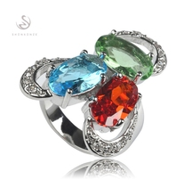 SHUNXUNZE Classic Favourite jewelry Rings Green Red Blue Cubic Zirconia Silver Plated R333 size 6 7 8 9 Rave reviews best sell