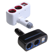 Universal 2 Ways Car Auto Cigarette Lighter Socket Splitter Power Adapter 2.1A / 1.0A 80W Dual USB Car Charger With LED light