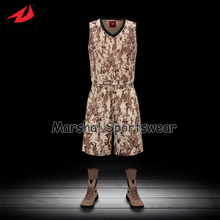 Latest sublimation customized basketball jersey,accept small quantity,top quality camouflage style Brown color