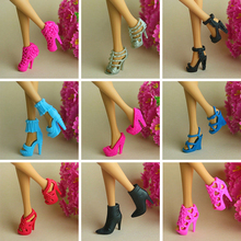 Free Shipping,Girl Birthday Gift 10 Pair / lot Doll Shoes Mix Style Mix Color Orignal Shoes For Barbie Doll(China)