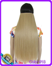 24inch 60cm 130g straight hair extension Heat resistant synthetic clip in hair extensions Color #18