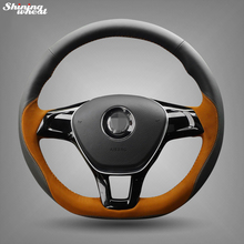 Shining wheat Black Leather Brown Suede Steering Wheel Cover for Volkswagen VW Golf 7 Mk7 New Polo Jetta Passat B8