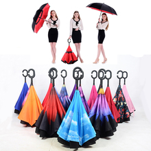 High Quality fancy Color Reverse upside-down Umbrella Car Anti UV Double Layer Magicbrella C Handle Women And Men Car Umbrella(China)
