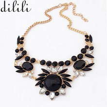 DILILI 2017 Fashion rhinestone Vintage Necklaces & pendants big collar crystal statement choker necklace women Collier jewelry