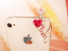 Gorgeous peach heart rose pendant phone dust plug cell phone accessories 3.5mm earphone dust plug(China)