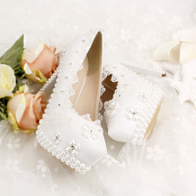 14 cm white lace flower diamond pearl fine with shallow mouth wedding shoes woman high heels pump banquet shoes