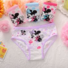 4pcs/lot Girls Underwear Briefs Panties Cartoon Kitty Minnie Baby Kids Panties Wholesale Shorts for Children underpant cotton
