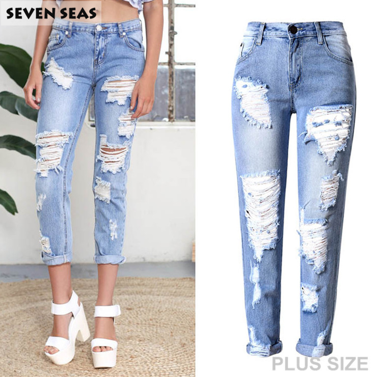 Plus size Ripped Boyfriend Jeans Women Baggy Distressed Jeans with Hole Loose Denim PantsОдежда и ак�е��уары<br><br><br>Aliexpress