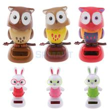 Cute Solar Powered Bobble Head Flip Flap Rabbit/Owl Kids Toy Car Ornament Gift(China)