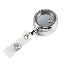 10PCS silver 30mm twist locket badge holder 316L stainless steel glass locket id card badge holder reel lanyard nurse badge reel
