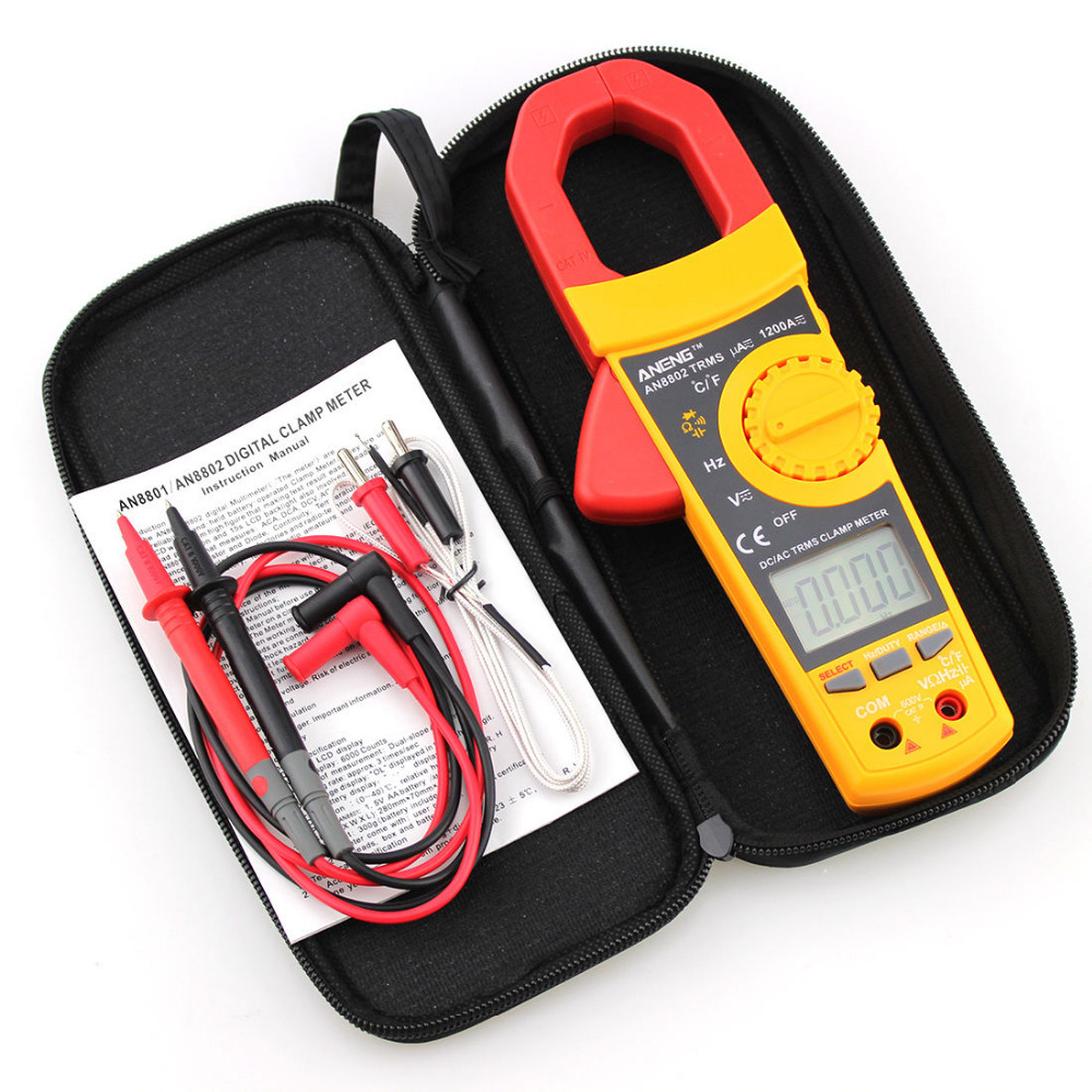 AN8802 Autoranging Digtal Clamp Meter True RMS Measurement Backlight Bag Test<br>