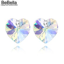 BeBella 15 colors heart stud crystal earrings made with Swarovski Elements for women brand gift 2017