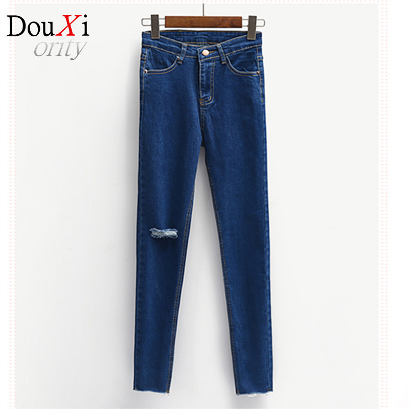 High Waist Jeans Women Skinny Ripped Jeans Denim Trousers Fashion Pencil Jeans For Women Skinny Pants Women distressed jeans Одежда и ак�е��уары<br><br><br>Aliexpress
