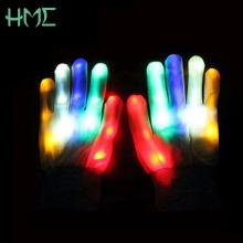 1 Pair of Colorful LED Gloves Rave Light Finger Lighting Flashing Gloves Unisex skeleton Glove For Halloween Party Supplies(China)