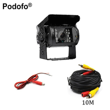 Podofo Universal Waterproof Car Rear View Camera Truck Backup Camera Heavy Duty 18 LED IR Night Vision 12V 24V (No Guide Line)