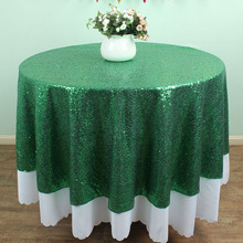 "72"" Round GREEN sparkly Glitz Sequin Table Cloths Banquet overlay Wedding party Table decoration cover"
