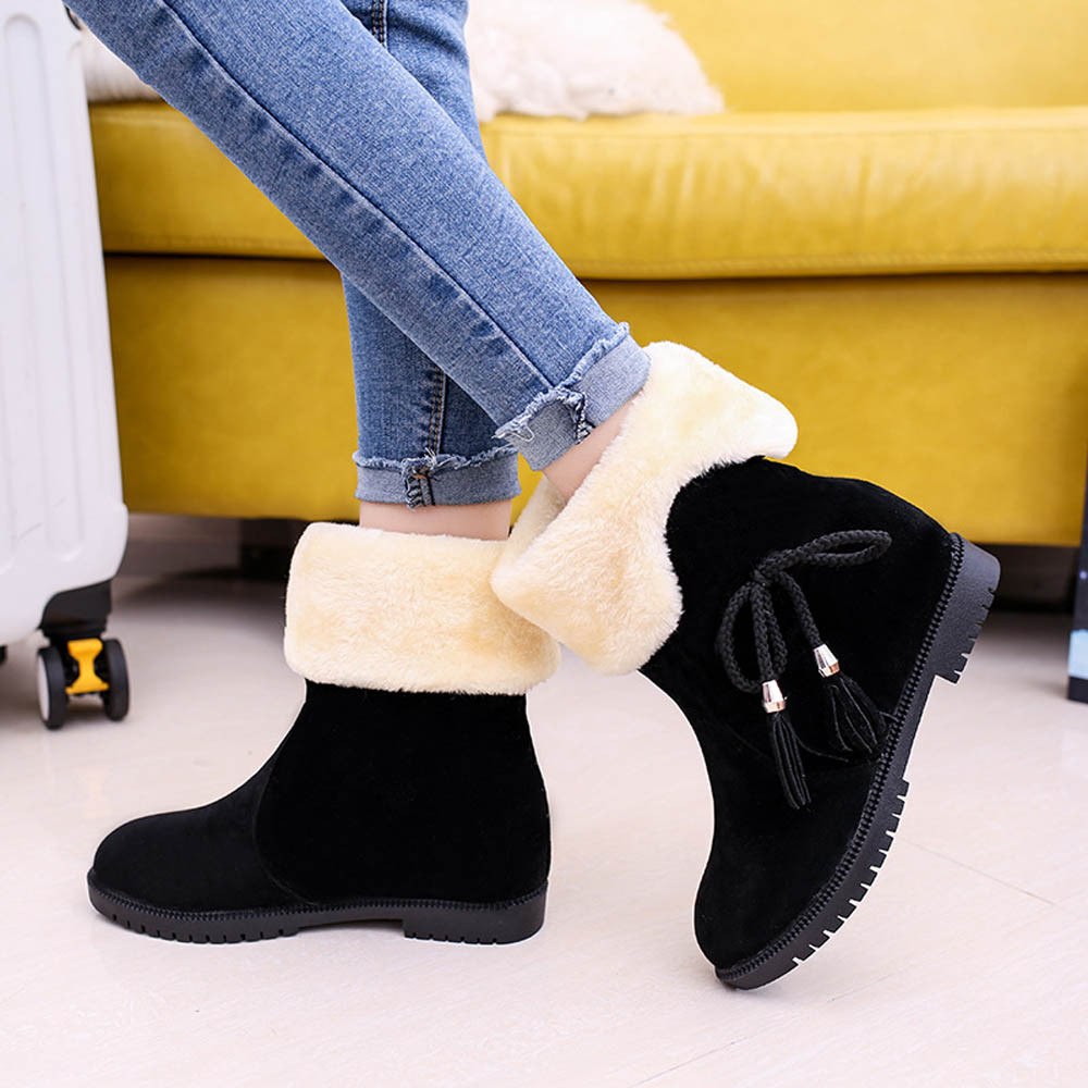 New Bowknot Warm Womens Boots Flats Shoes Snow Boots Women Vintage Autumn Winter Shoes Female Fashion Style High Quality<br><br>Aliexpress