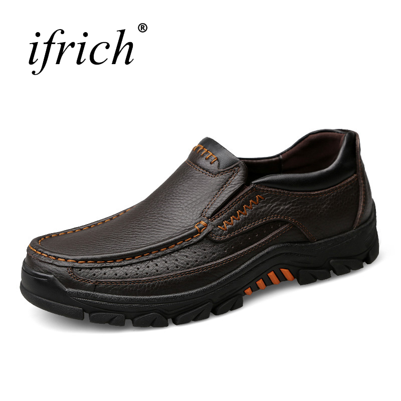 Ifrich Leather Shoes Men Luxury Brand Large Size Mens Designer Shoes Slip on Sneakers Men Rubber Bottom Shoes Men Leather<br>