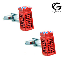 iGame Telephone Box Cuff Links British Style Flag Decoration Free Shipping