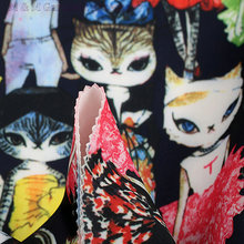 Print cat space cotton fabric slow rebound polyester+spandex fabric suit luxury dress fabric textured fabric 150cm*5yard
