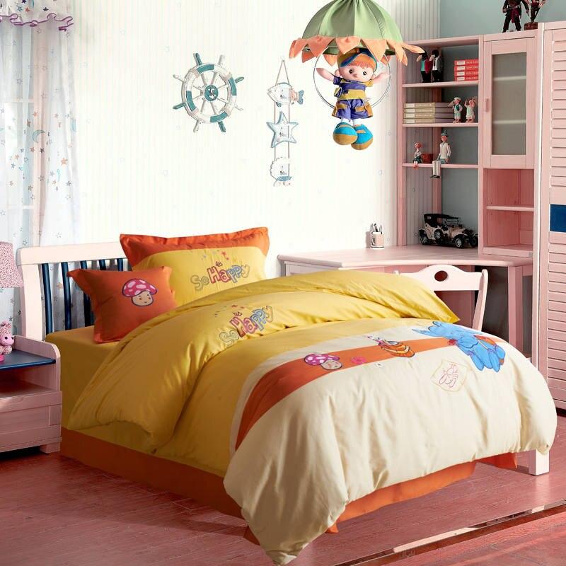 cartoon print applique embroidered bedding set twin full queen size duvet cover bedspreads cotton woven boys - Queen Size Duvet Cover