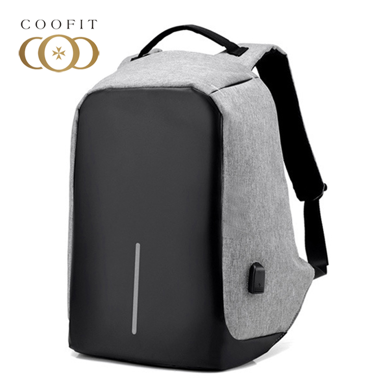 Coofit Unisex USB Backpack Large Capacity Oxford Laptop Backpacks For Men Boys Teens Business Bagpack Male Travel Satchels Bag<br>