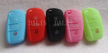 Silicone car key cover Fits for Audi A3 A4 A6 A8 TT Q7 3 button auto key shell cover Fob car accessorise   1pc