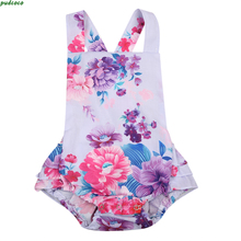 Baby Girls Cute Floral Romper Lovely 2017 NEW Infant Baby Girl One-Piece Sunsuit Backless Baby Jumper Playsuit