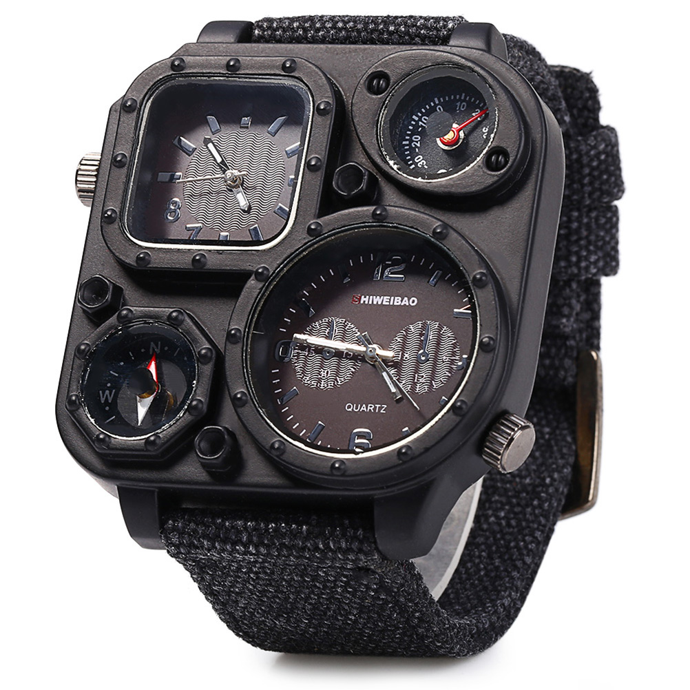 Men Boys Dual Time Display Quartz Wrist Watch with Compass Canvas Band quartz watch for man military chronograph wrist watches<br><br>Aliexpress