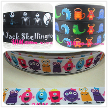 Q&N ribbon 7/8inch 22mm OEM Cute Cartoon dog Printed grosgrain ribbon 50yds/roll free shipping for hair bows headband(China)
