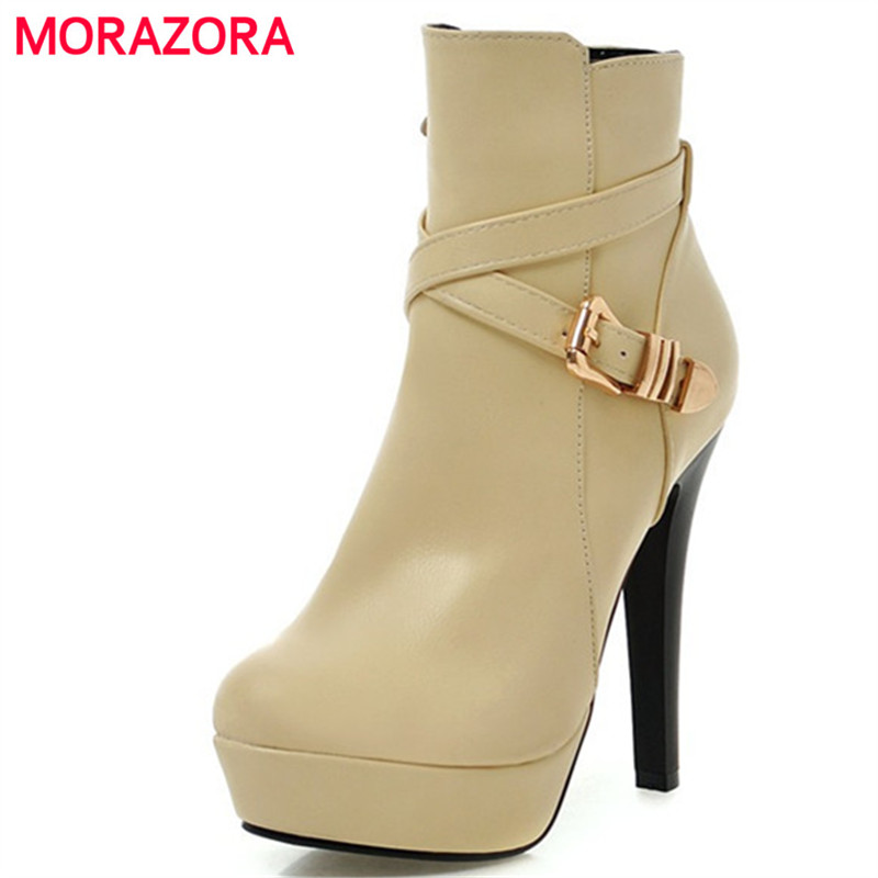 MORAZORA Plus size 34-43 ankle boots for women spring autumn platform shoes PU soft leather thin heels boots female zip fashion<br>