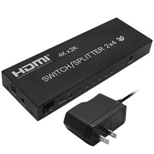5PCS HDMI 2X4 Splitter Switch 3D 4K HDMI Matrix Switcher 2 in 4 with 3.5 mm/ SPDIF audio output for HDTV PC DVD PS3