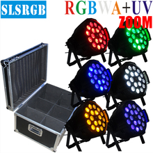 6pcs/lot&flight case 18x18W Zoom par RGBWA UV 6in1 10-60 degree LED par 64 stage dj club lighting DJ PAR64 18x18w LED LIGHT 6in1